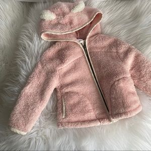 Old navy 12-18 months pink bear soft zip up coat